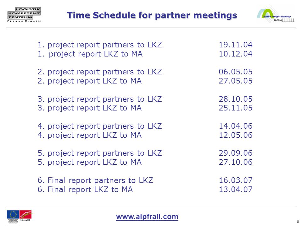 www.alpfrail.com 7 -Elaboration of an time schedule Definition of the interfaces (with date for transferring the information) -Implementation of the WP with direct communication to the partners (incl.