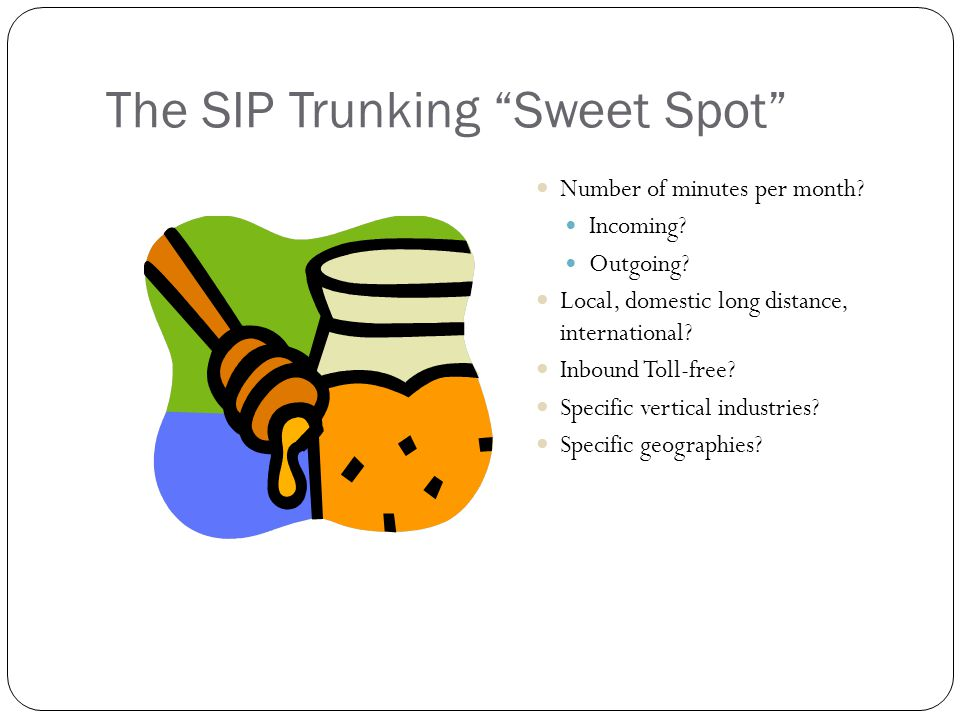 The SIP Trunking Sweet Spot Number of minutes per month.