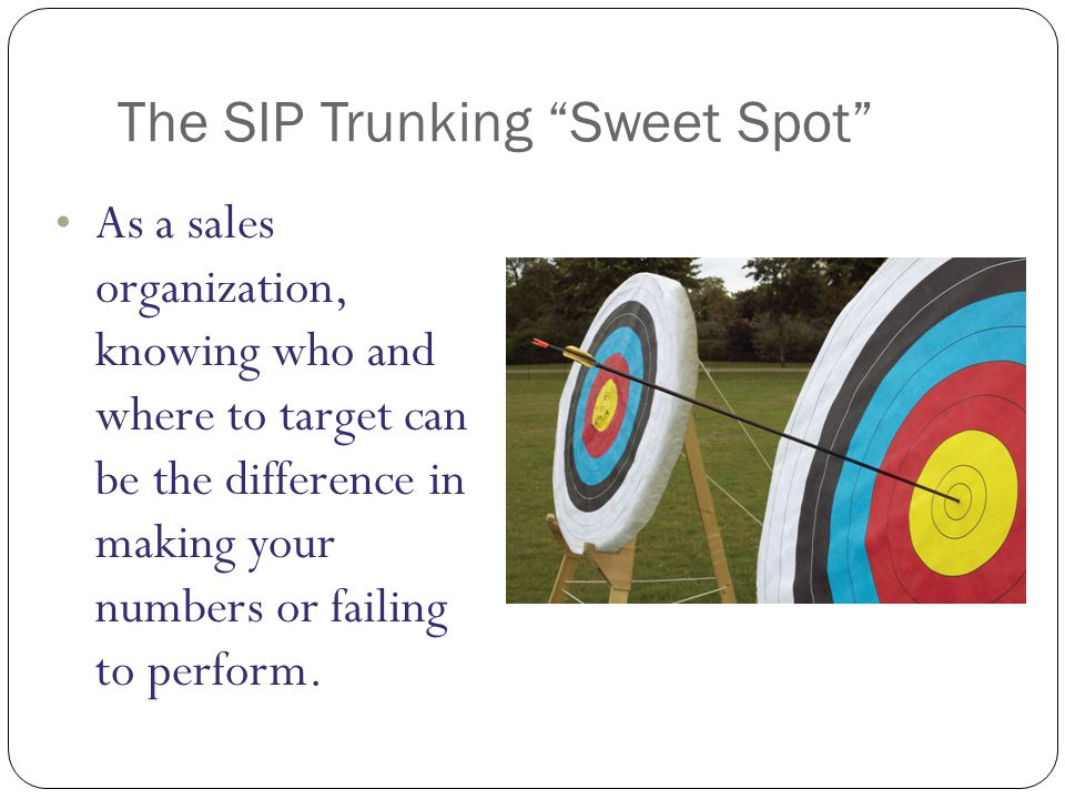 The SIP Trunking Sweet Spot As a sales organization, knowing who and where to target can be the difference in making your numbers or failing to perform.