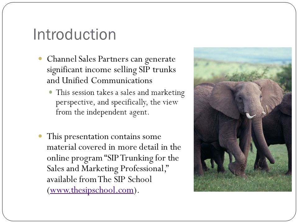 Introduction Channel Sales Partners can generate significant income selling SIP trunks and Unified Communications This session takes a sales and marketing perspective, and specifically, the view from the independent agent.