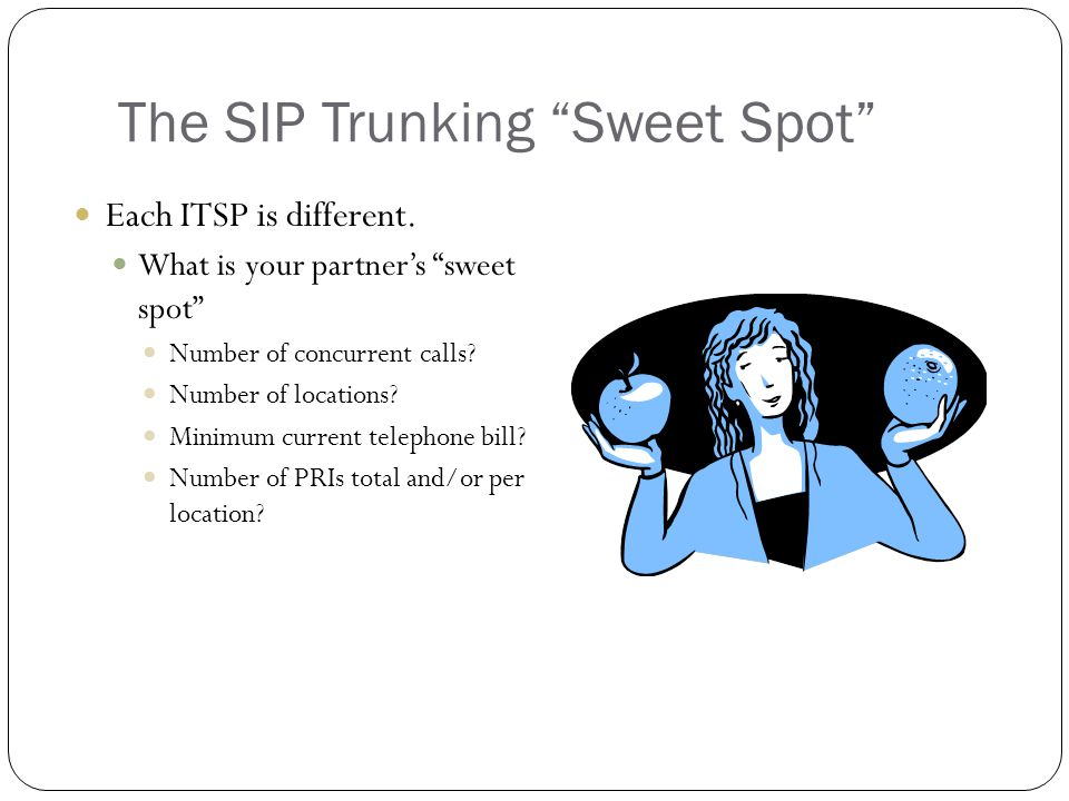The SIP Trunking Sweet Spot Each ITSP is different.