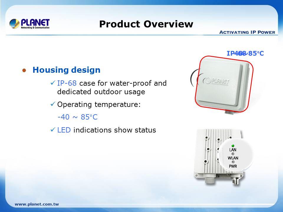 www.planet.com.tw Product Comparison internal Model WAP-8000WAP-6100WAP-6000 Outlook Hardware interface 1 x LAN (Private PoE) ChipsetAtheros AR5112Atheros AR5002 CaseIP68IP66IP67 Operating Temp.