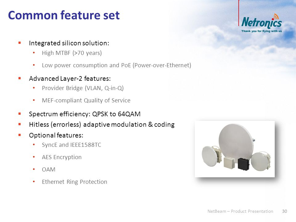 30 NetBeam – Product Presentation Common feature set  Integrated silicon solution: High MTBF (>70 years) Low power consumption and PoE (Power-over-Et