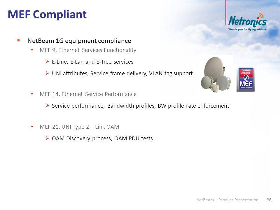 36 NetBeam – Product Presentation MEF Compliant  NetBeam 1G equipment compliance MEF 9, Ethernet Services Functionality  E-Line, E-Lan and E-Tree se