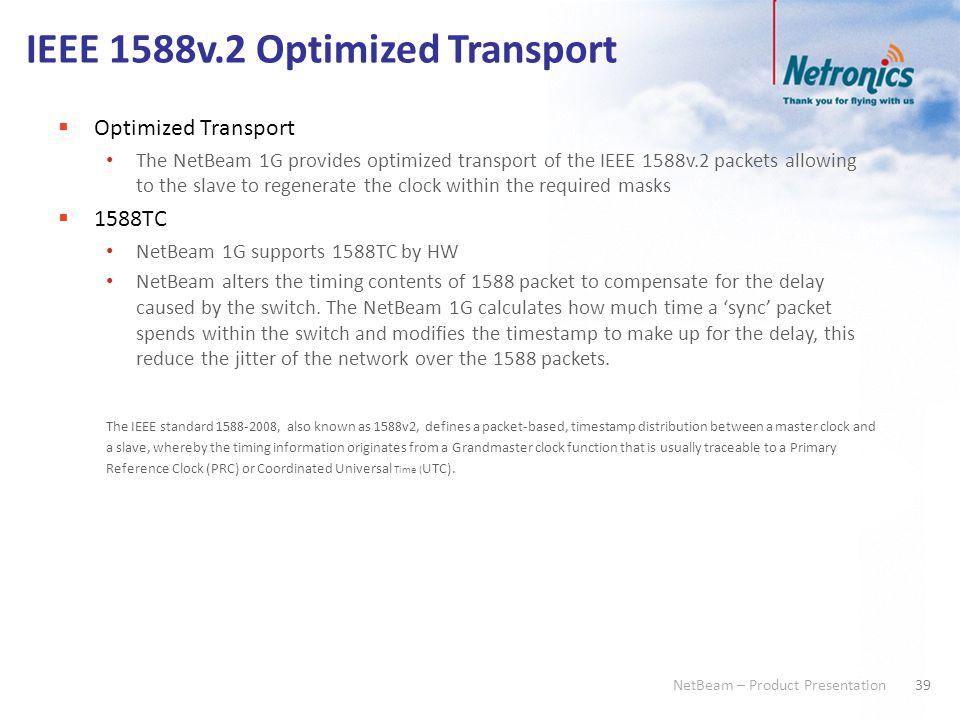 39 NetBeam – Product Presentation IEEE 1588v.2 Optimized Transport  Optimized Transport The NetBeam 1G provides optimized transport of the IEEE 1588v