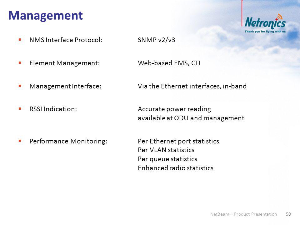 50 NetBeam – Product Presentation Management  NMS Interface Protocol:SNMP v2/v3  Element Management:Web-based EMS, CLI  Management Interface:Via th