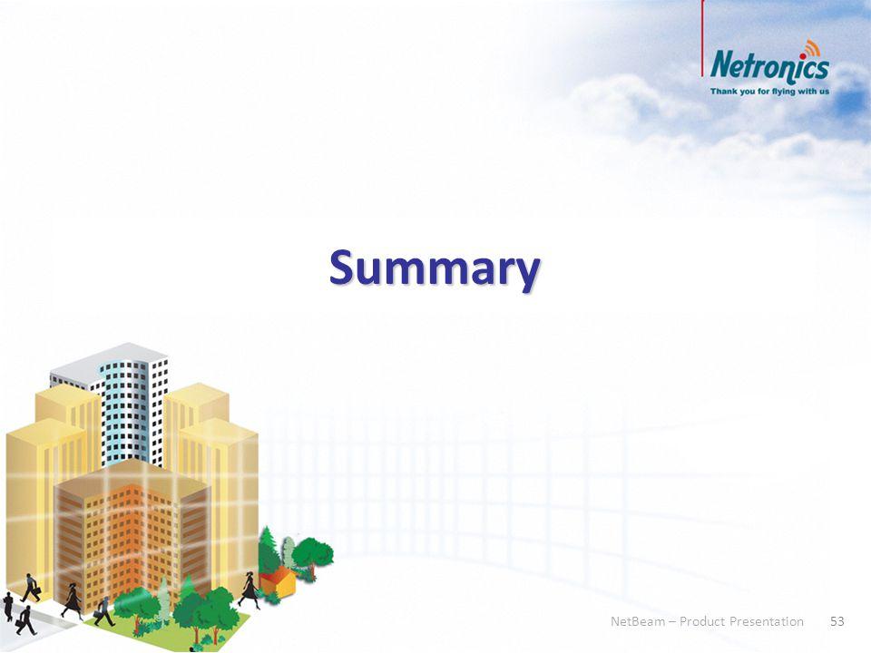 53 NetBeam – Product Presentation 53 NetBeam – Product Presentation Summary