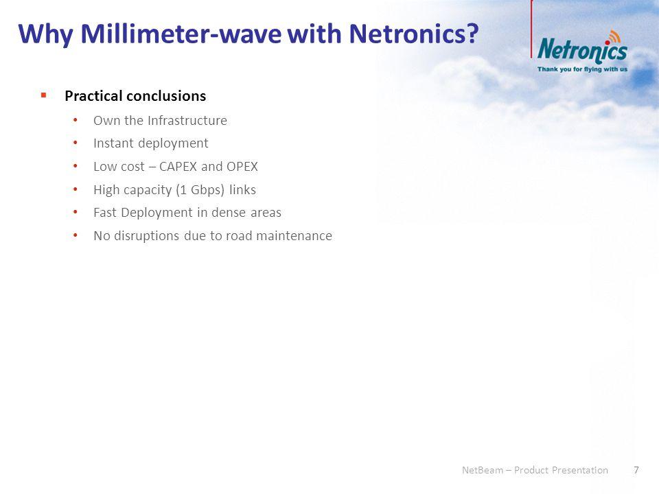 8 NetBeam – Product Presentation 8 Applications