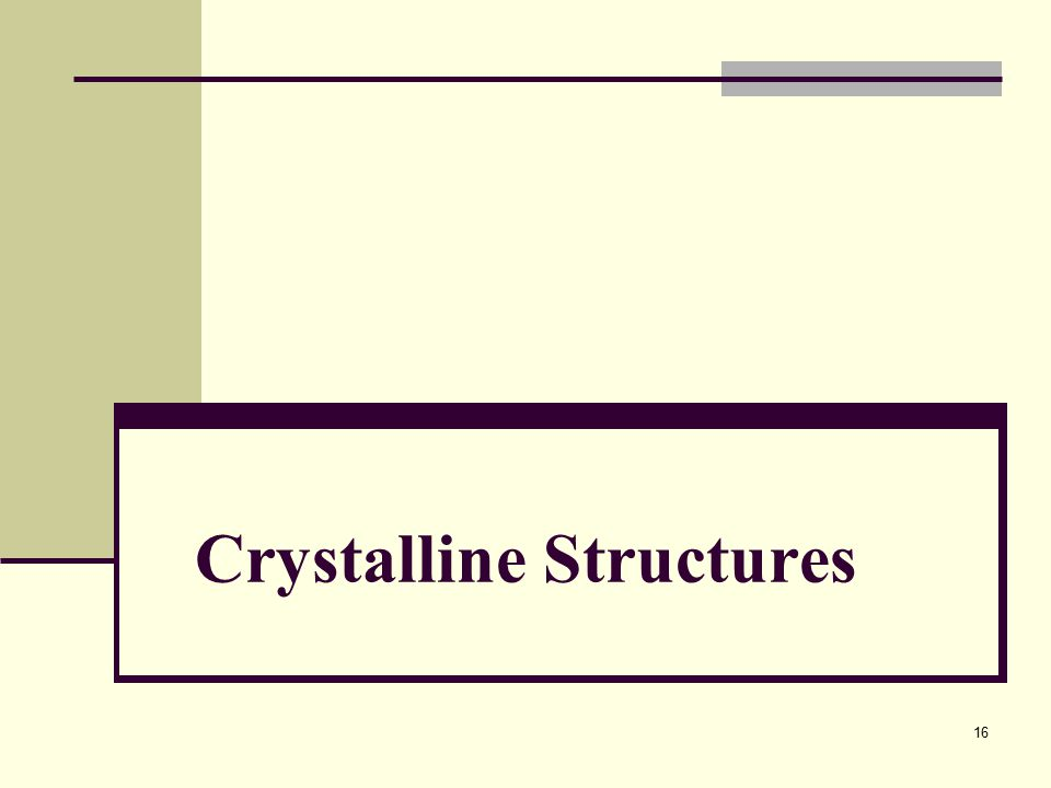 Crystalline Structures 16