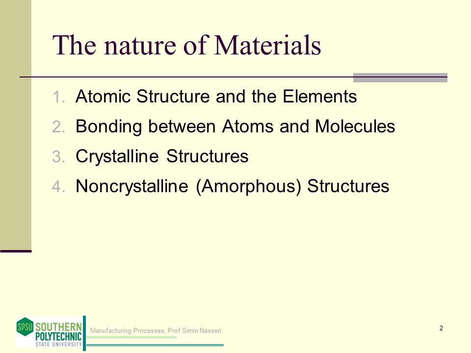 Manufacturing Processes, Prof Simin Nasseri Covalent Bonding Figure 2.4 Second form of primary bonding: (b) covalent Outer electrons are shared between two local atoms of different elements.