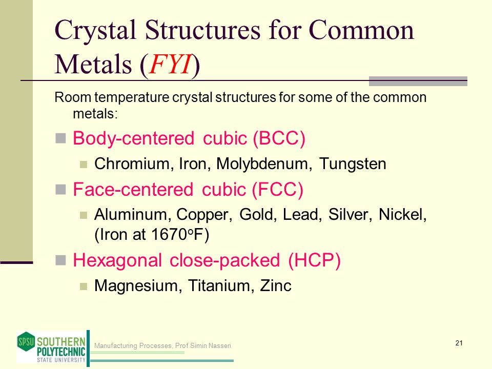 Manufacturing Processes, Prof Simin Nasseri Crystal Structures for Common Metals (FYI) Room temperature crystal structures for some of the common meta