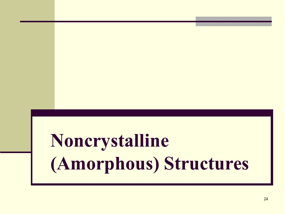 Noncrystalline (Amorphous) Structures 24