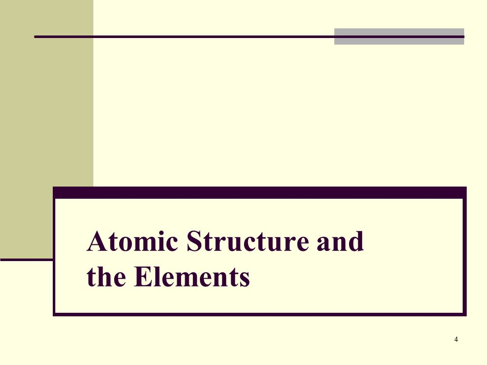 Atomic Structure and the Elements 4