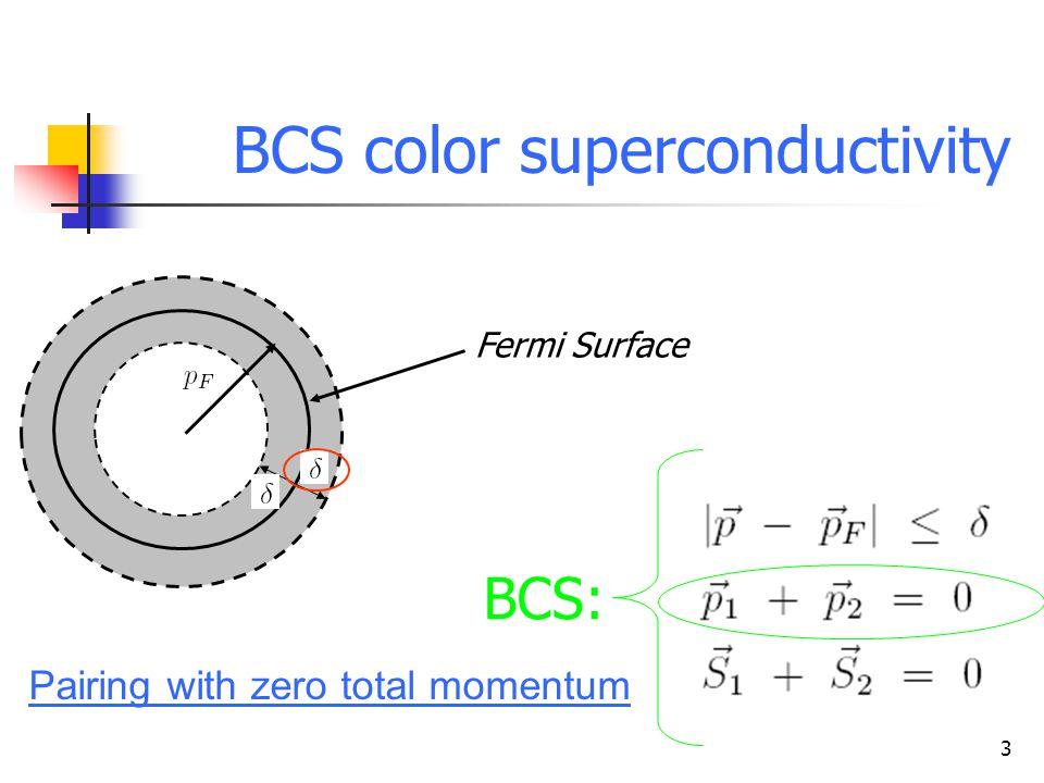 3 Superficie di Fermi BCS color superconductivity Fermi Surface BCS: Pairing with zero total momentum