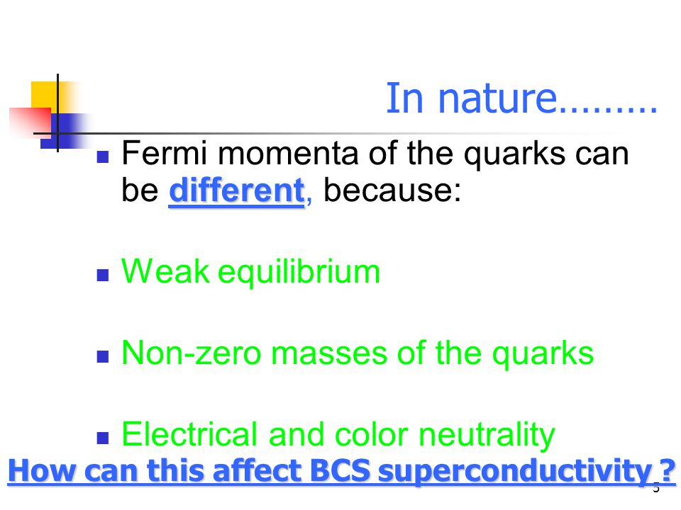 5 In nature……… different Fermi momenta of the quarks can be different, because: Weak equilibrium Non-zero masses of the quarks Electrical and color neutrality How can this affect BCS superconductivity