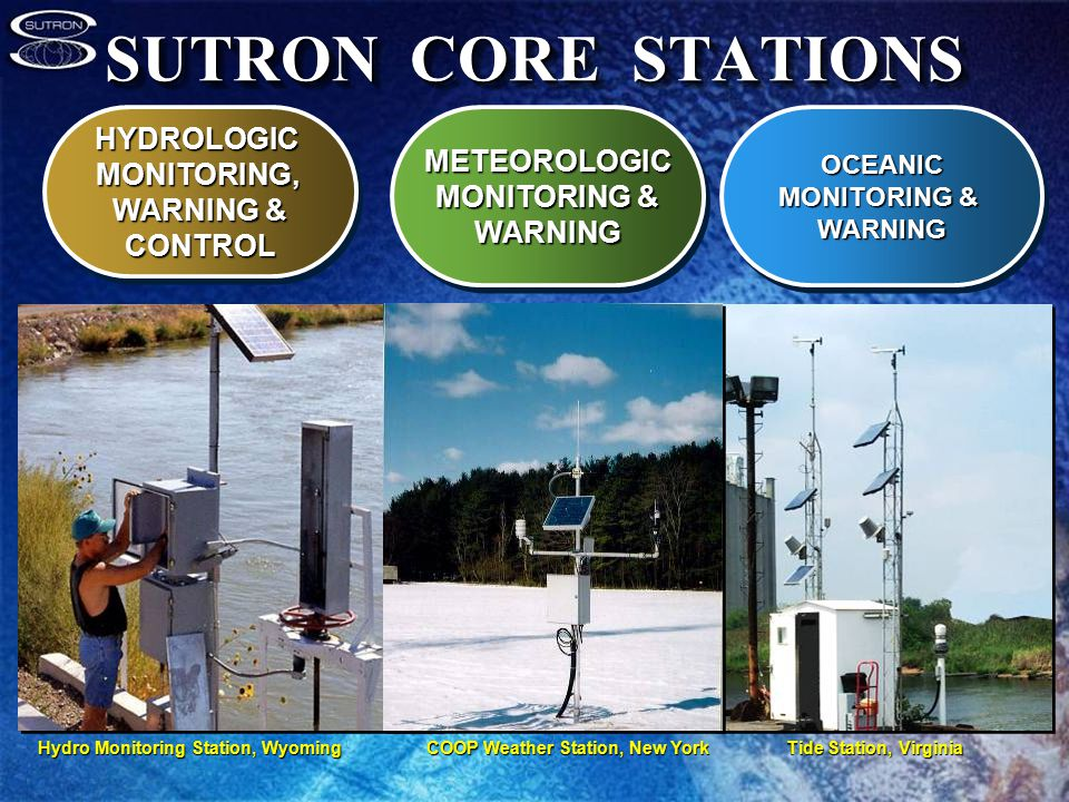 SUTRON CORE STATIONS HYDROLOGICMONITORING, WARNING & CONTROLHYDROLOGICMONITORING, CONTROLMETEOROLOGIC MONITORING & WARNINGMETEOROLOGIC WARNINGOCEANIC WARNINGOCEANIC WARNING Hydro Monitoring Station, WyomingCOOP Weather Station, New YorkTide Station, Virginia