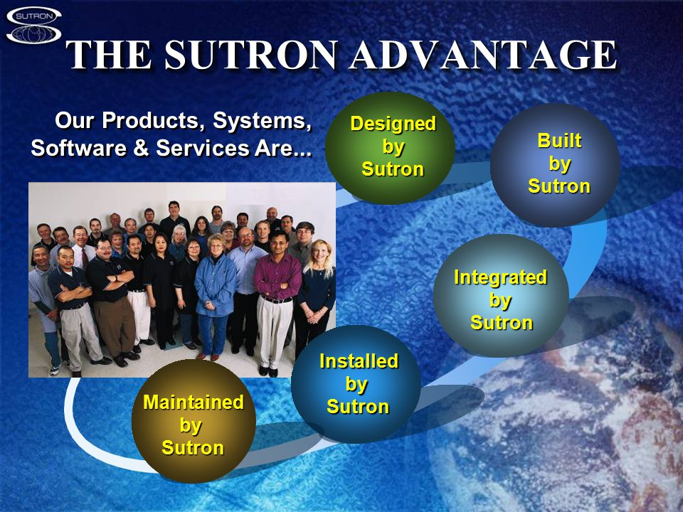 THE SUTRON ADVANTAGE Designed by Sutron BuiltbySutron IntegratedbySutron Our Products, Systems, Software & Services Are...