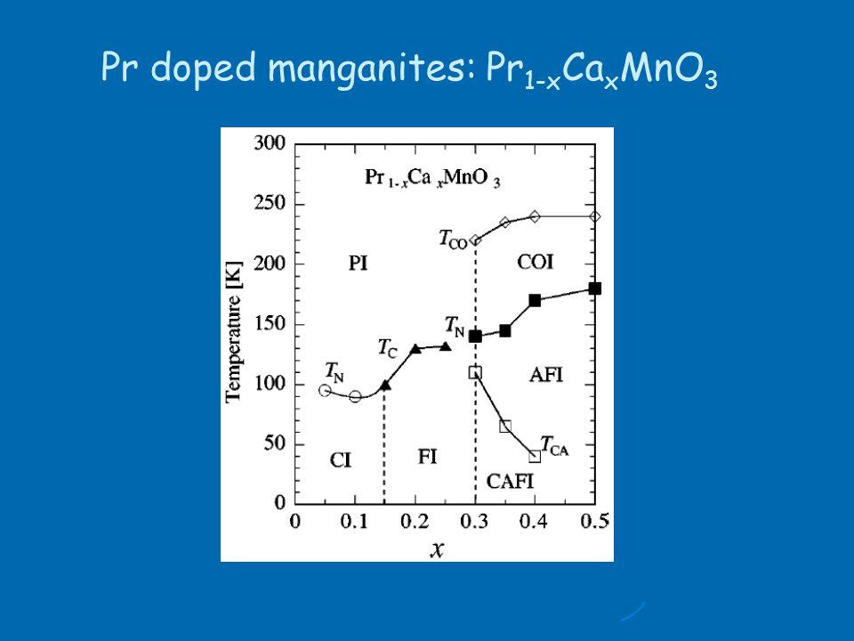 Pr doped manganites: Pr 1-x Ca x MnO 3