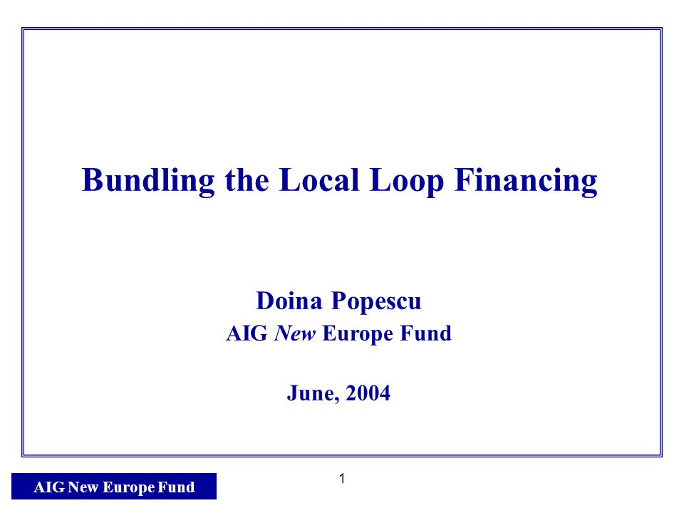 AIG New Europe Fund 1 Bundling the Local Loop Financing Doina Popescu AIG New Europe Fund June, 2004