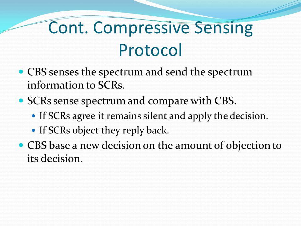 Cont. Compressive Sensing Protocol CBS senses the spectrum and send the spectrum information to SCRs. SCRs sense spectrum and compare with CBS. If SCR