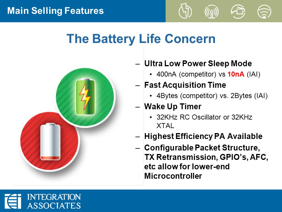 Page 10 CONFIDENTIAL EZRadioPRO Main Selling Features –Ultra Low Power Sleep Mode 400nA (competitor) vs 10nA (IAI) –Fast Acquisition Time 4Bytes (comp