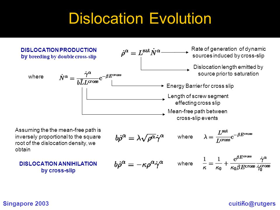Singapore 2003 cuiti ñ o@rutgers Dislocation Evolution DISLOCATION PRODUCTION by breeding by double cross-slip where Dislocation length emitted by source prior to saturation Rate of generation of dynamic sources induced by cross-slip Energy Barrier for cross slip Mean-free path between cross-slip events Length of screw segment effecting cross slip Assuming the the mean-free path is inversely proportional to the square root of the dislocation density, we obtain where DISLOCATION ANNIHILATION by cross-slip where