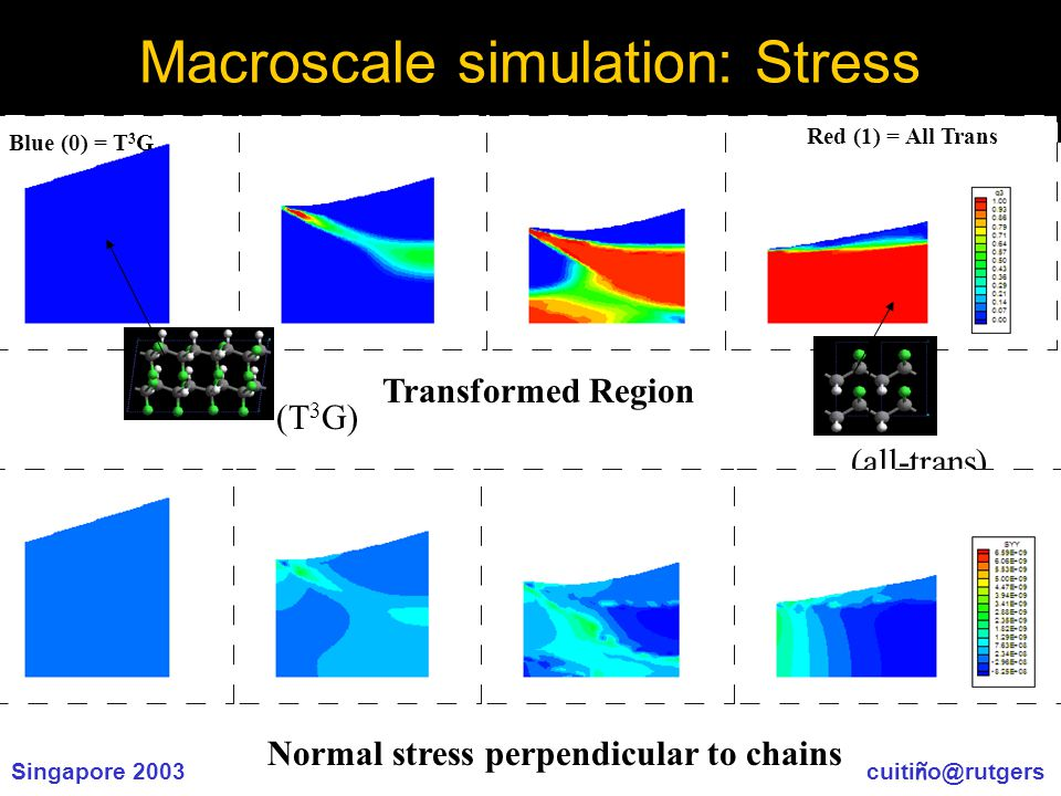 Singapore 2003 cuiti ñ o@rutgers Macroscale simulation: Stress Blue (0) = T 3 G Red (1) = All Trans (T 3 G) (all-trans) Transformed Region Normal stress perpendicular to chains