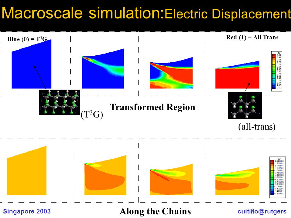 Singapore 2003 cuiti ñ o@rutgers Macroscale simulation: Electric Displacement Blue (0) = T 3 G Red (1) = All Trans (T 3 G) (all-trans) Transformed Region Along the Chains