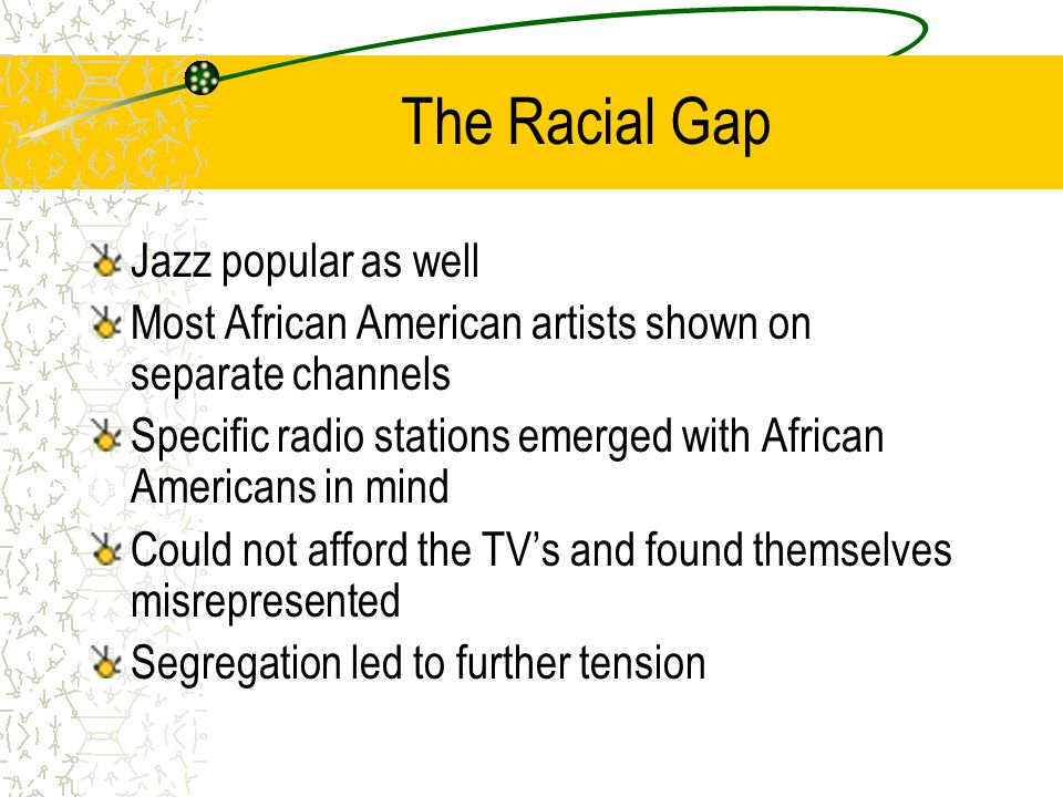 The Racial Gap Jazz popular as well Most African American artists shown on separate channels Specific radio stations emerged with African Americans in mind Could not afford the TV's and found themselves misrepresented Segregation led to further tension