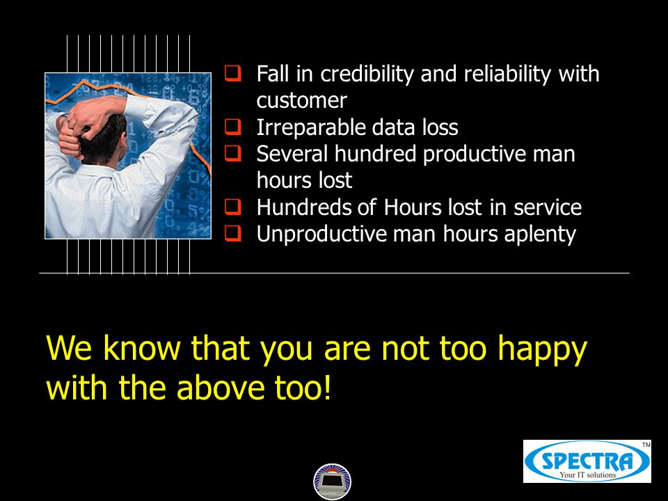  Fall in credibility and reliability with customer  Irreparable data loss  Several hundred productive man hours lost  Hundreds of Hours lost in service  Unproductive man hours aplenty We know that you are not too happy with the above too!