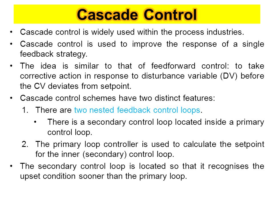 Cascade control: block diagram