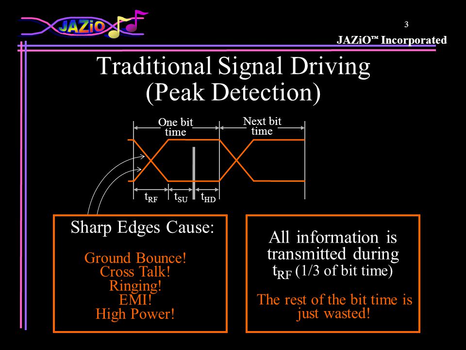 JAZiO ™ Incorporated 4 Pseudo Differential Signal Sensing Sensing level about 1/3 of switching level The rest of the switching level is just wasted.