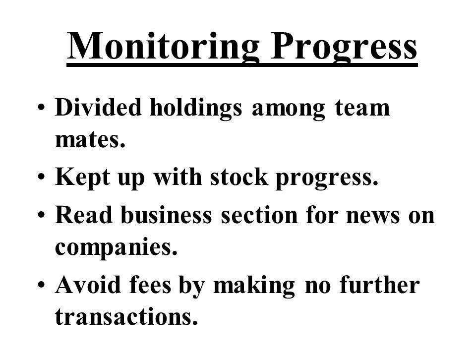 Monitoring Progress Divided holdings among team mates.