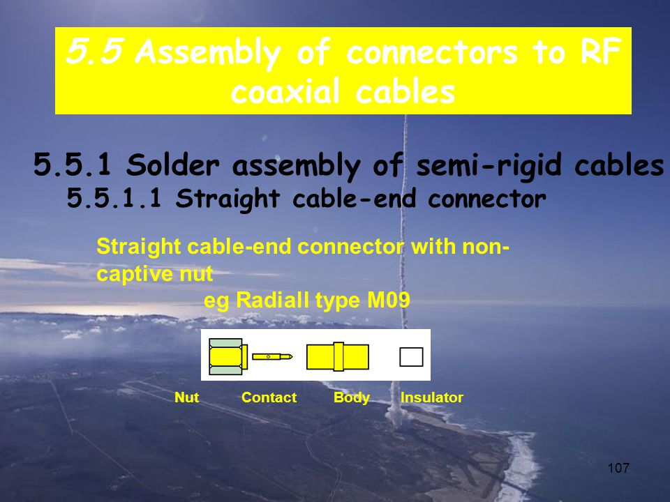 107 5.5 Assembly of connectors to RF coaxial cables 5.5.1 Solder assembly of semi-rigid cables 5.5.1.1 Straight cable-end connector Straight cable-end connector with non- captive nut eg Radiall type M09 NutContact Body Insulator