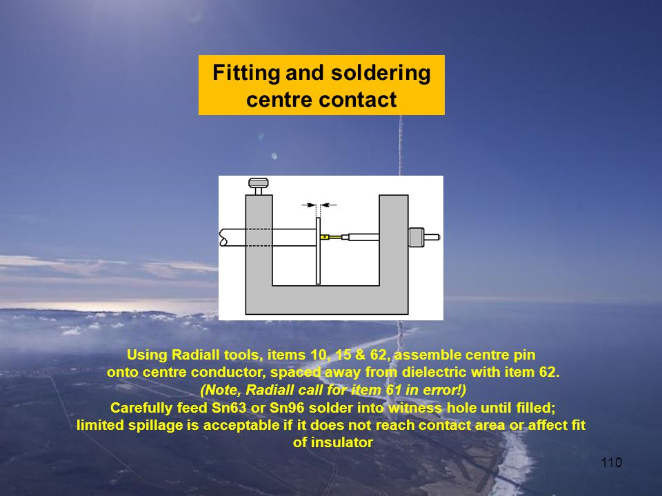 110 Fitting and soldering centre contact Using Radiall tools, items 10, 15 & 62, assemble centre pin onto centre conductor, spaced away from dielectric with item 62.
