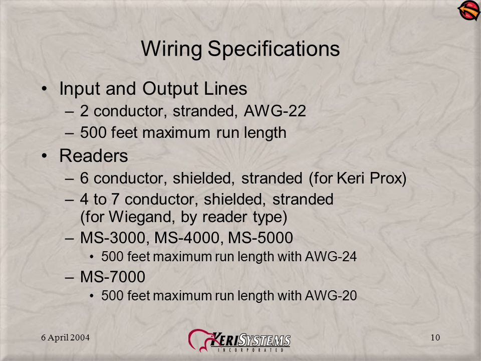 6 April 200410 Wiring Specifications Input and Output Lines –2 conductor, stranded, AWG-22 –500 feet maximum run length Readers –6 conductor, shielded