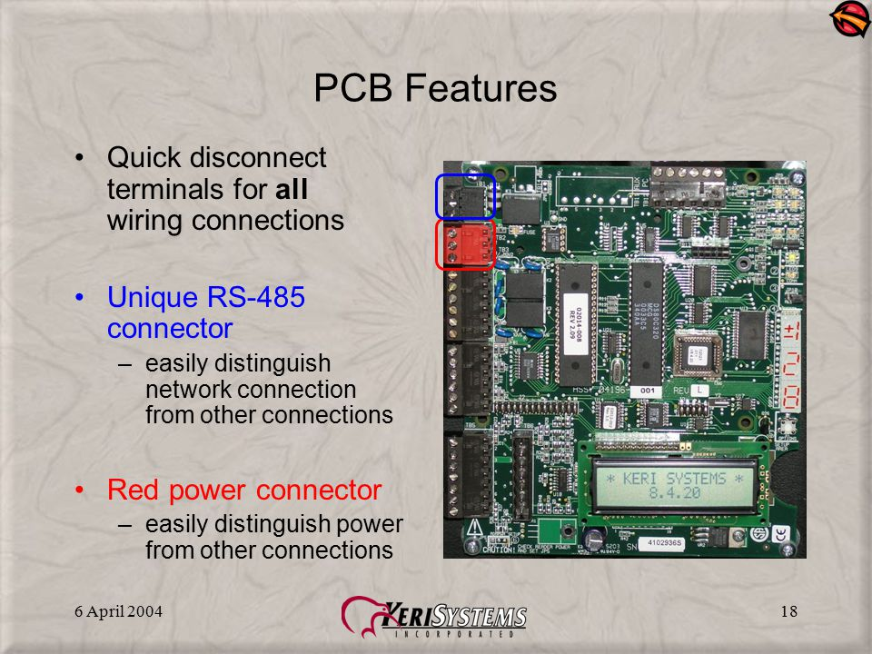 6 April 200418 PCB Features Quick disconnect terminals for all wiring connections Unique RS-485 connector –easily distinguish network connection from