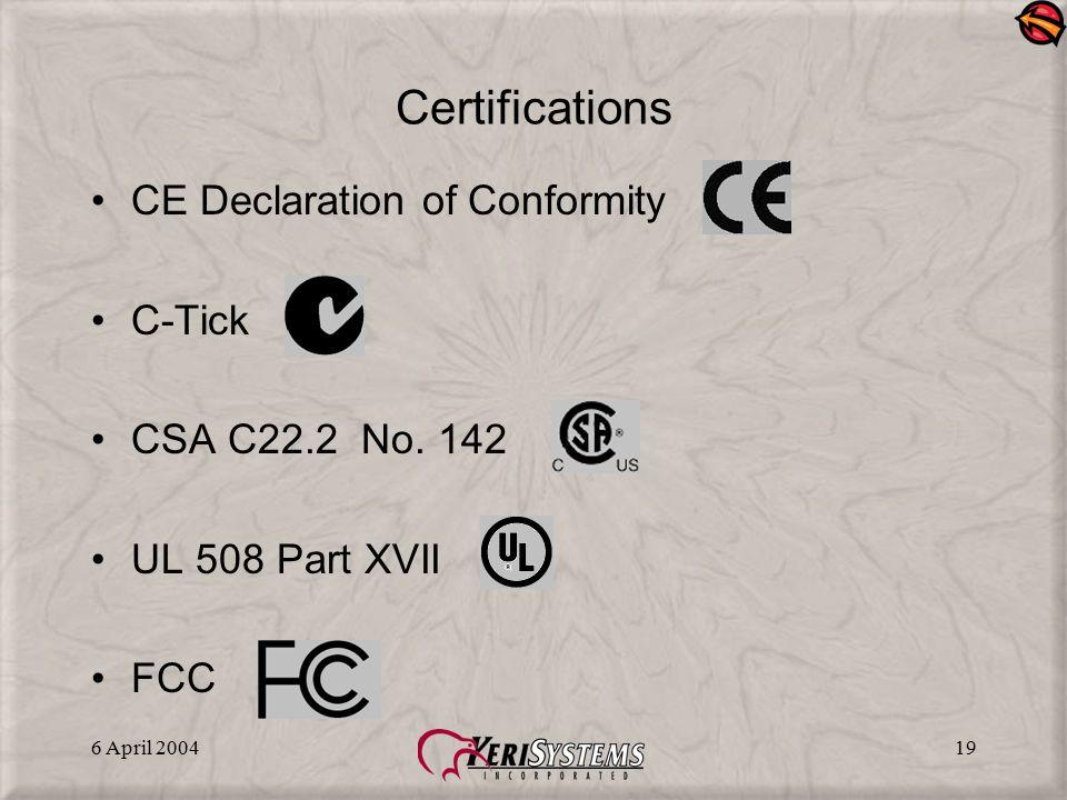 6 April 200419 Certifications CE Declaration of Conformity C-Tick CSA C22.2 No. 142 UL 508 Part XVII FCC