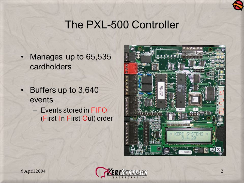 6 April 20042 The PXL-500 Controller Manages up to 65,535 cardholders Buffers up to 3,640 events –Events stored in FIFO (First-In-First-Out) order