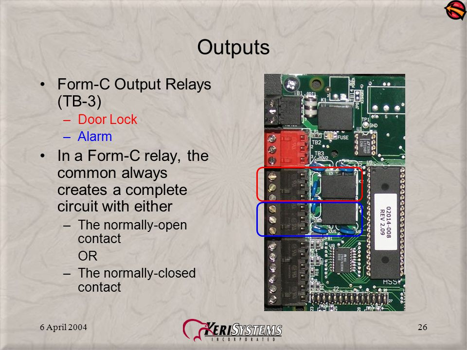 6 April 200426 Outputs Form-C Output Relays (TB-3) –Door Lock –Alarm In a Form-C relay, the common always creates a complete circuit with either –The