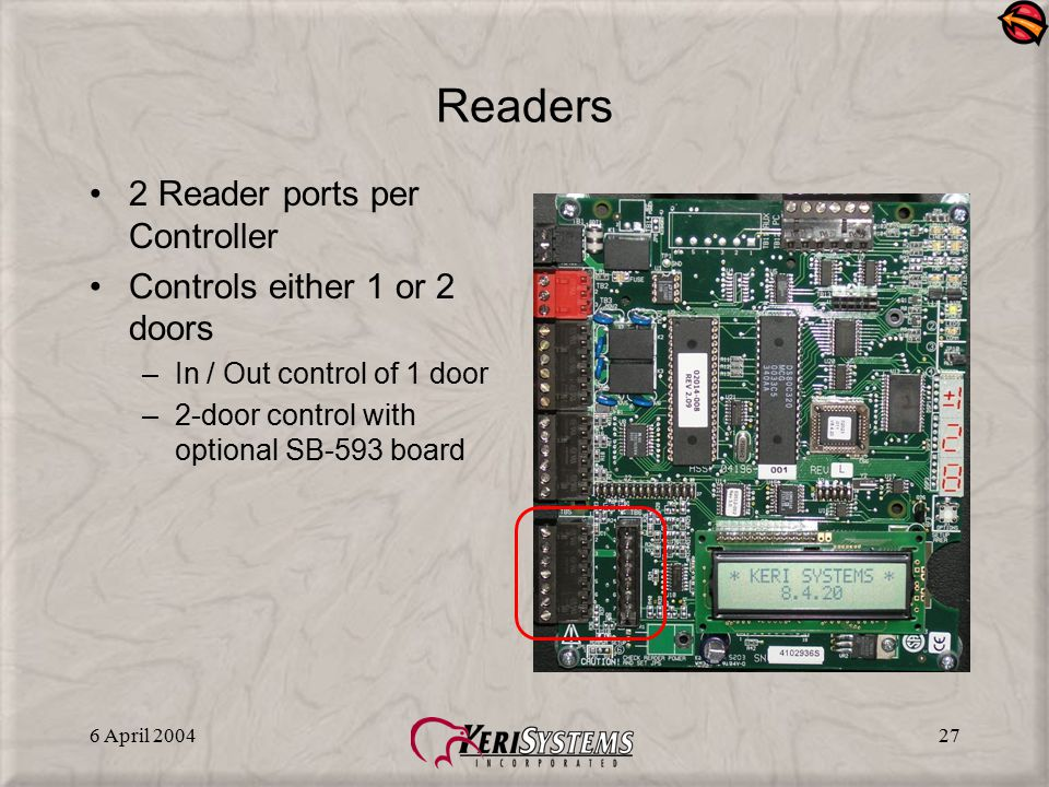 6 April 200427 Readers 2 Reader ports per Controller Controls either 1 or 2 doors –In / Out control of 1 door –2-door control with optional SB-593 boa