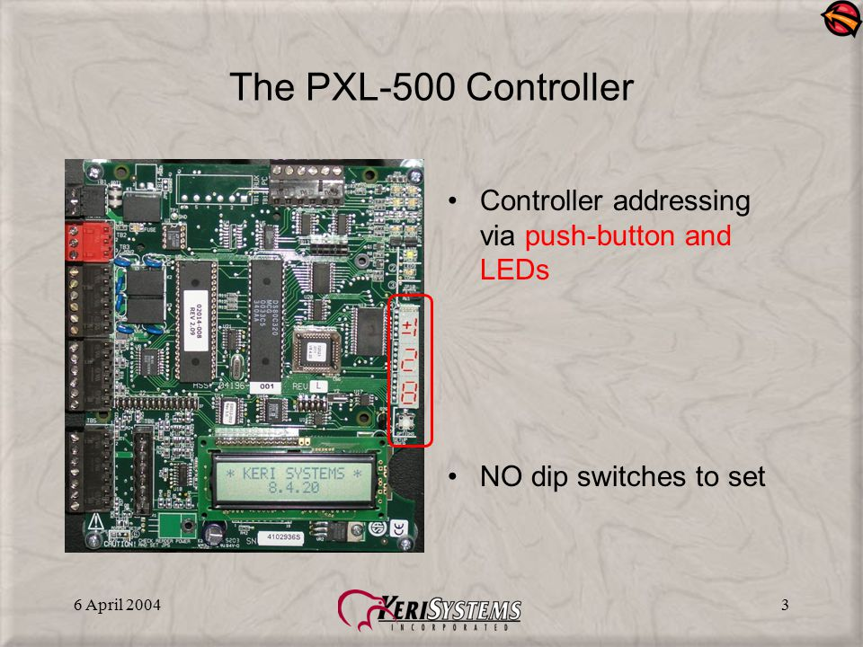 6 April 20043 The PXL-500 Controller Controller addressing via push-button and LEDs NO dip switches to set