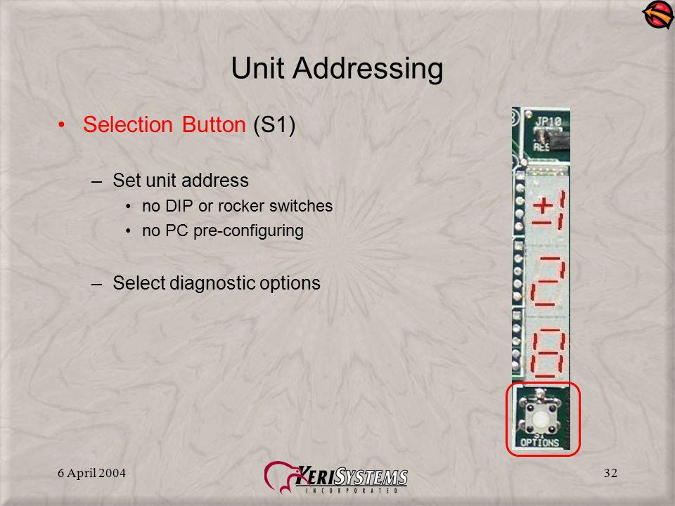 6 April 200432 Unit Addressing Selection Button (S1) –Set unit address no DIP or rocker switches no PC pre-configuring –Select diagnostic options