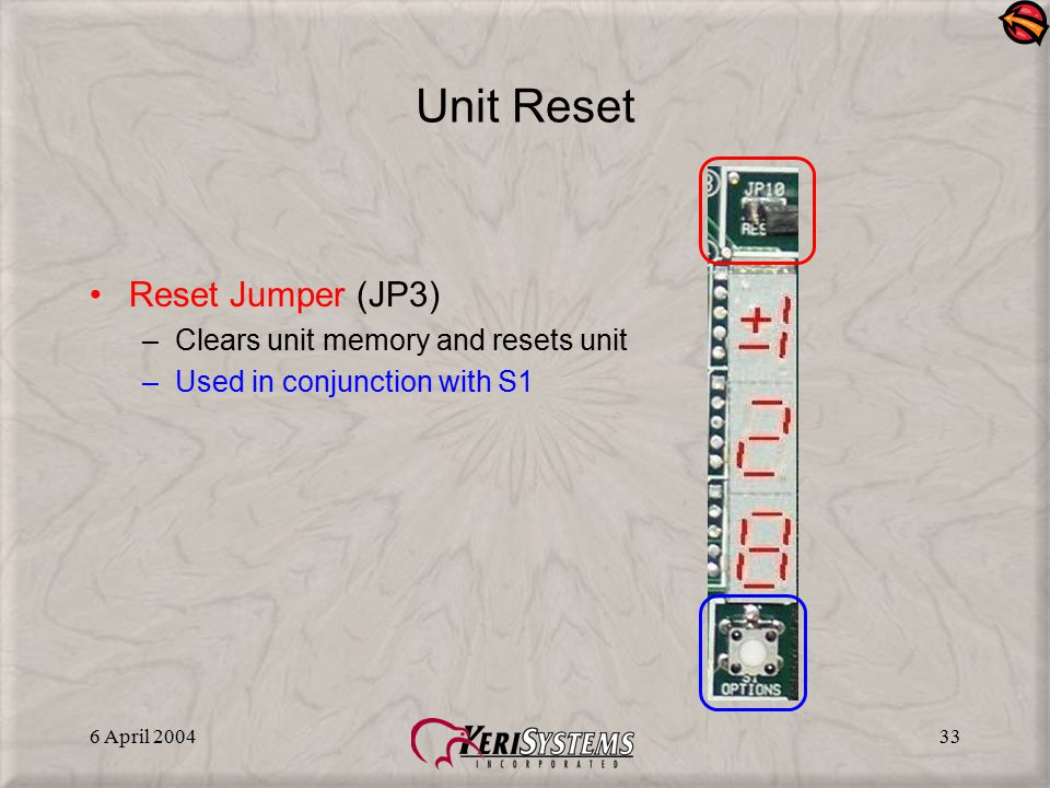 6 April 200433 Unit Reset Reset Jumper (JP3) –Clears unit memory and resets unit –Used in conjunction with S1