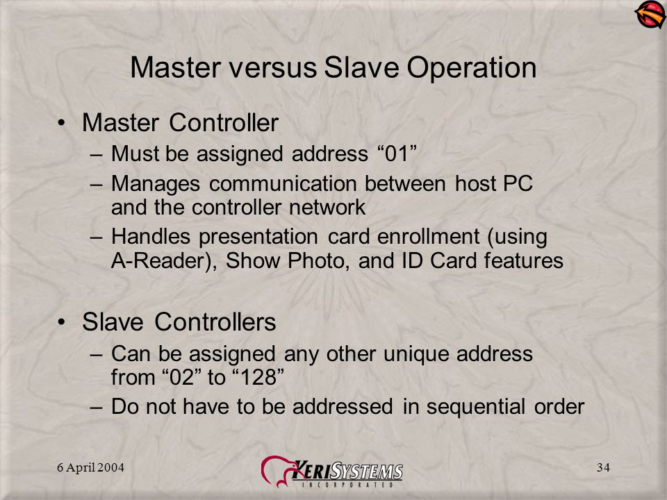 """6 April 200434 Master versus Slave Operation Master Controller –Must be assigned address """"01"""" –Manages communication between host PC and the controlle"""