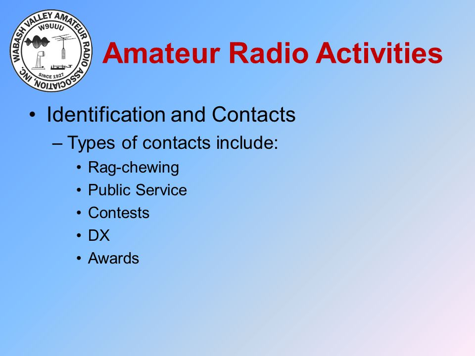 Amateur Radio Activities Identification and Contacts –Types of contacts include: Rag-chewing Public Service Contests DX Awards
