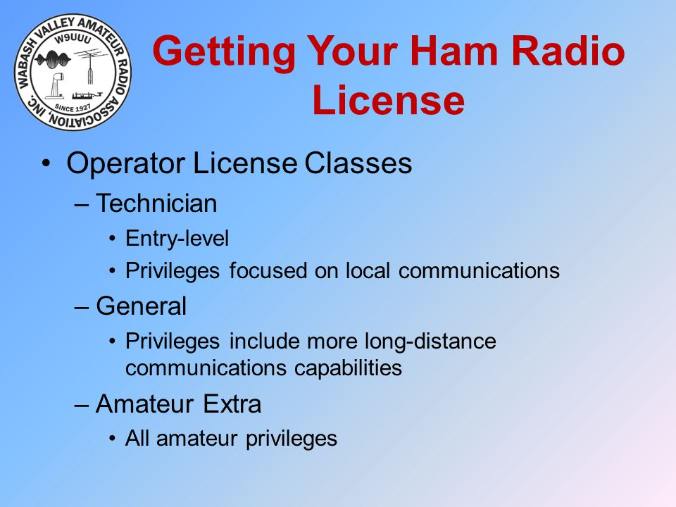 Getting Your Ham Radio License Operator License Classes –Technician Entry-level Privileges focused on local communications –General Privileges include