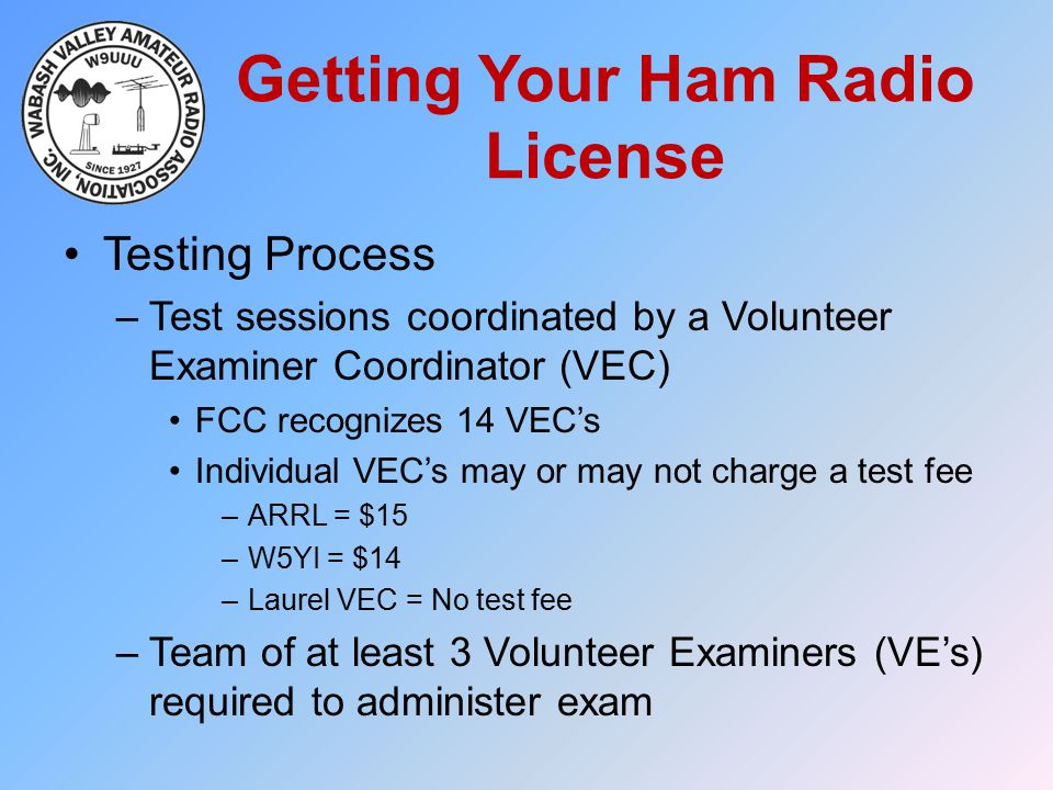 Getting Your Ham Radio License Testing Process –Test sessions coordinated by a Volunteer Examiner Coordinator (VEC) FCC recognizes 14 VEC's Individual