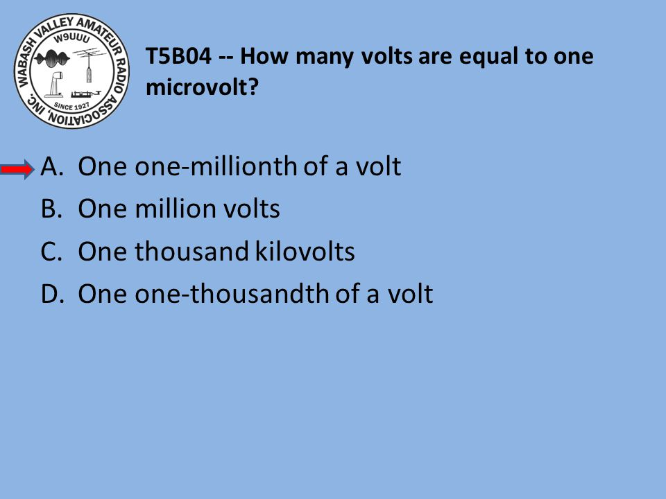 T5B04 -- How many volts are equal to one microvolt? A.One one-millionth of a volt B.One million volts C.One thousand kilovolts D.One one-thousandth of