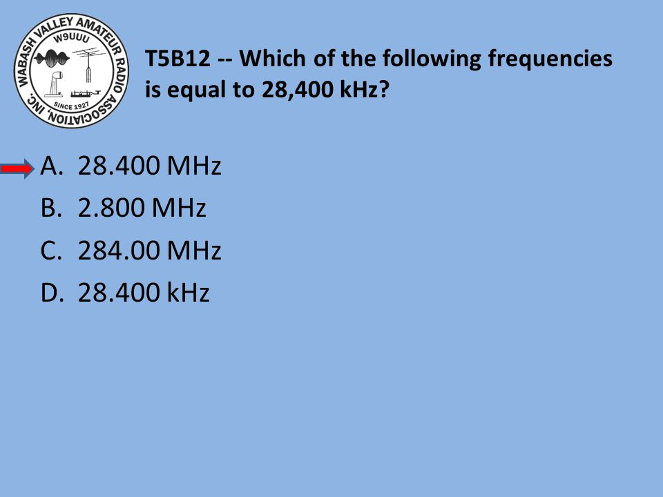 T5B12 -- Which of the following frequencies is equal to 28,400 kHz? A.28.400 MHz B.2.800 MHz C.284.00 MHz D.28.400 kHz